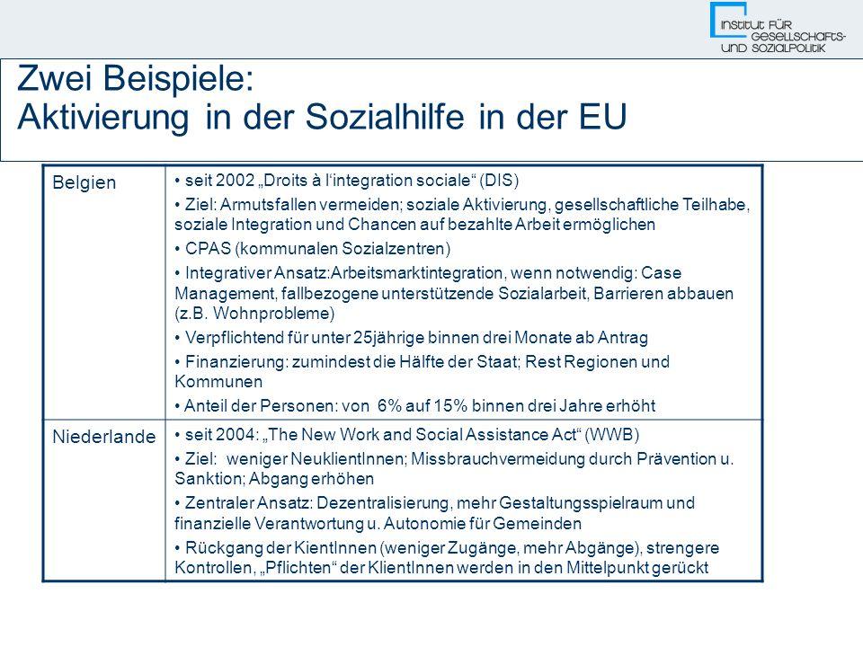 Zwei Beispiele: Aktivierung in der Sozialhilfe in der EU Belgien seit 2002 Droits à lintegration sociale (DIS) Ziel: Armutsfallen vermeiden; soziale A