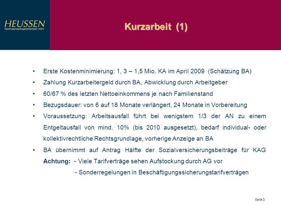 Kurzarbeit (1) Seite 3 Erste Kostenminimierung: 1, 3 – 1,5 Mio. KA im April 2009 (Schätzung BA) Zahlung Kurzarbeitergeld durch BA, Abwicklung durch Ar