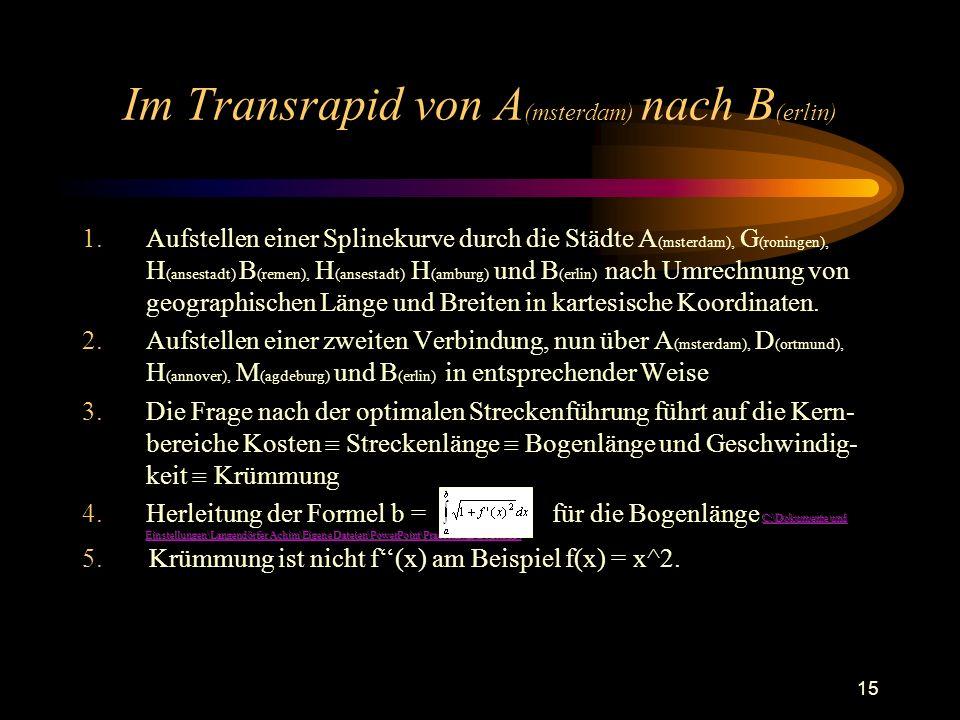 15 Im Transrapid von A (msterdam) nach B (erlin) 5. Krümmung ist nicht f(x) am Beispiel f(x) = x^2.