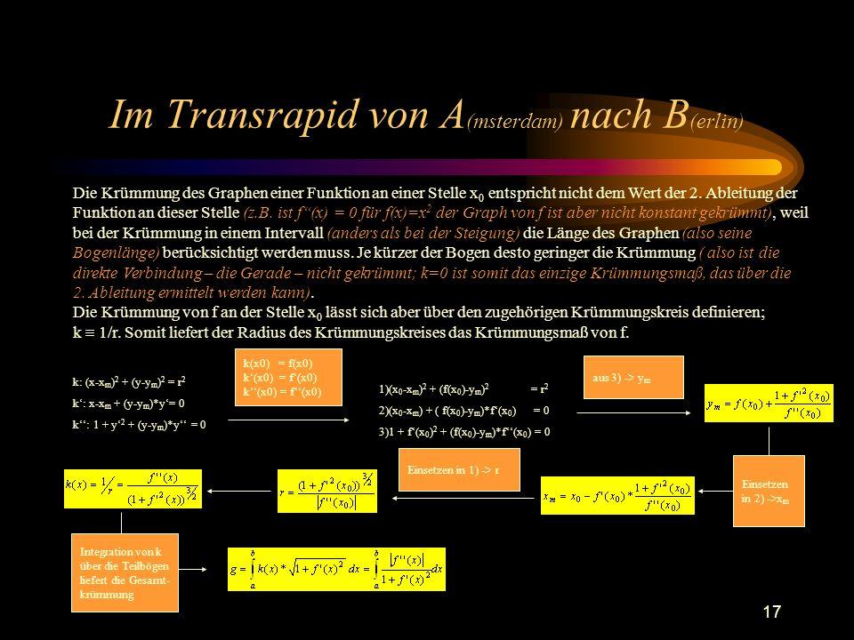 17 Im Transrapid von A (msterdam) nach B (erlin) Die Krümmung des Graphen einer Funktion an einer Stelle x 0 entspricht nicht dem Wert der 2. Ableitun