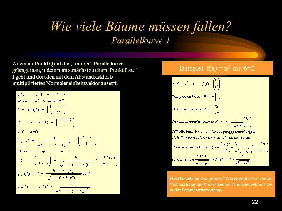 22 Wie viele Bäume müssen fallen? Parallelkurve 1 Zu einem Punkt Q auf der unteren Parallelkurve gelangt man, indem man zunächst zu einem Punkt P auf