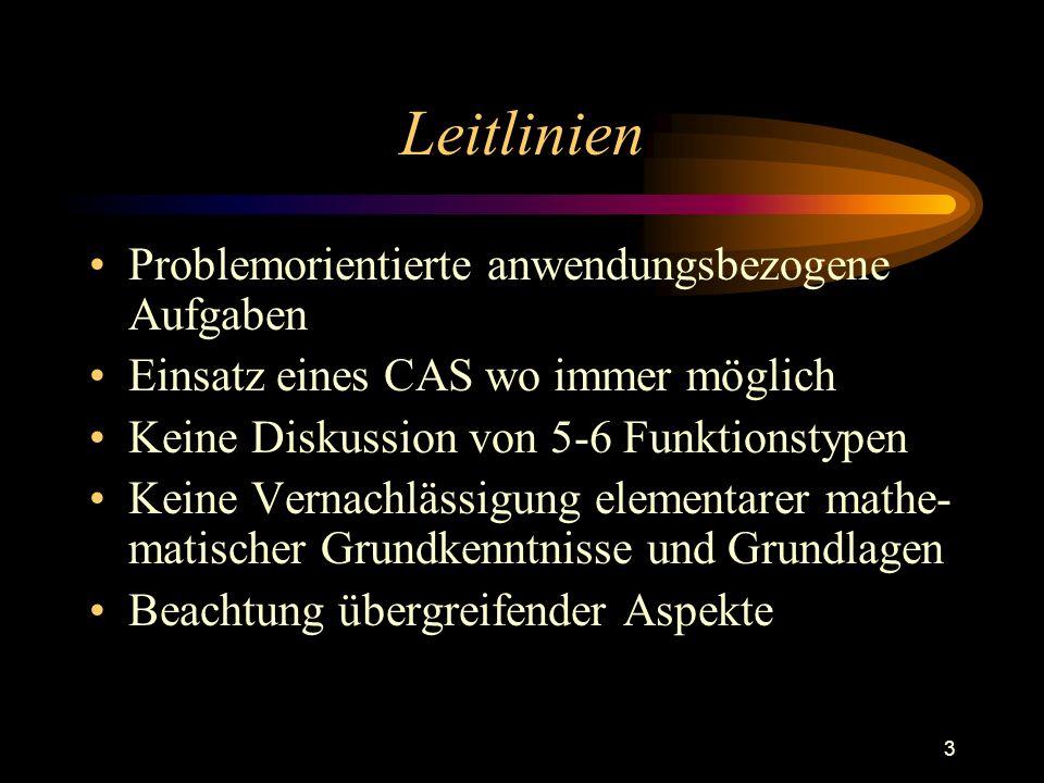 3 Leitlinien Problemorientierte anwendungsbezogene Aufgaben Einsatz eines CAS wo immer möglich Keine Diskussion von 5-6 Funktionstypen Keine Vernachlässigung elementarer mathe- matischer Grundkenntnisse und Grundlagen Beachtung übergreifender Aspekte