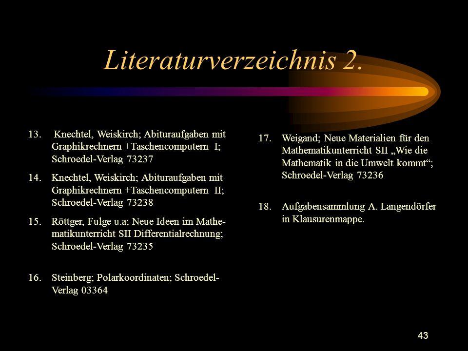 43 Literaturverzeichnis 2. 13. Knechtel, Weiskirch; Abituraufgaben mit Graphikrechnern +Taschencomputern I; Schroedel-Verlag 73237 14.Knechtel, Weiski