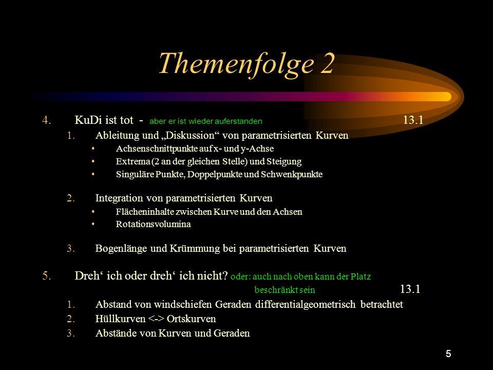 5 Themenfolge 2 4.KuDi ist tot - aber er ist wieder auferstanden 13.1 1.Ableitung und Diskussion von parametrisierten Kurven Achsenschnittpunkte auf x