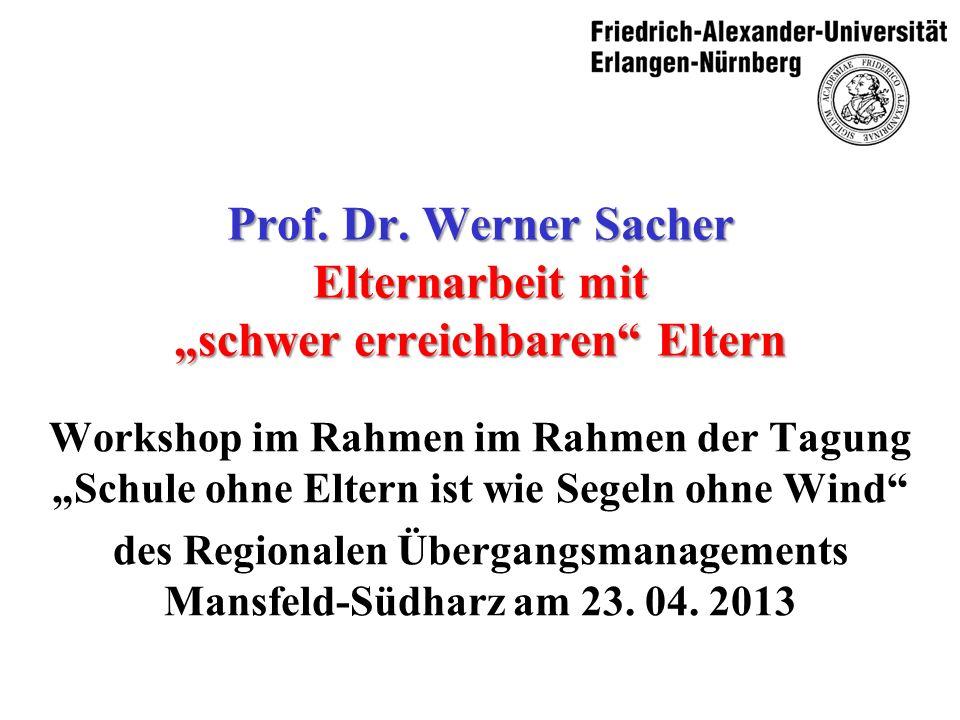 Prof. Dr. Werner Sacher Elternarbeit mit schwer erreichbaren Eltern Workshop im Rahmen im Rahmen der TagungSchule ohne Eltern ist wie Segeln ohne Wind