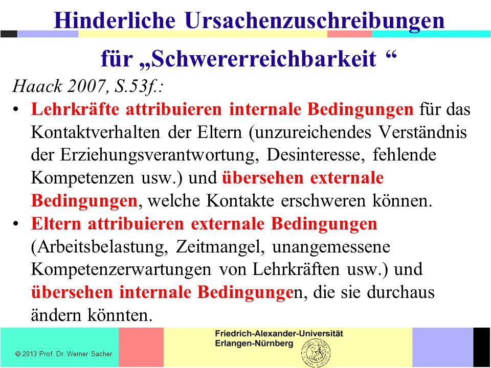 Haack 2007, S.53f.: Lehrkräfte attribuieren internale Bedingungen für das Kontaktverhalten der Eltern (unzureichendes Verständnis der Erziehungsverantwortung, Desinteresse, fehlende Kompetenzen usw.) und übersehen externale Bedingungen, welche Kontakte erschweren können.
