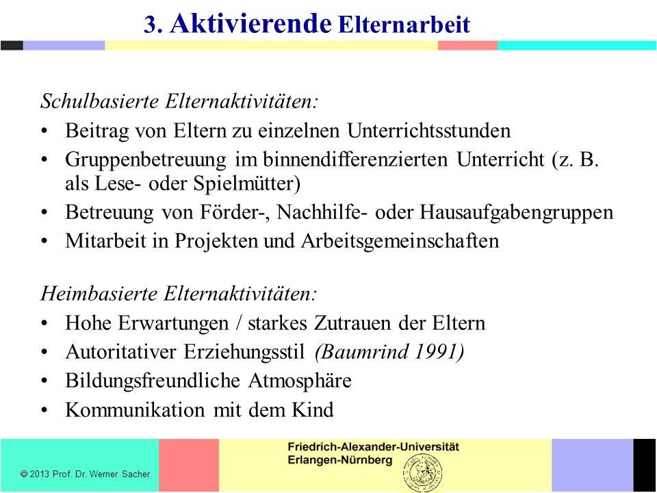 Schulbasierte Elternaktivitäten: Beitrag von Eltern zu einzelnen Unterrichtsstunden Gruppenbetreuung im binnendifferenzierten Unterricht (z.