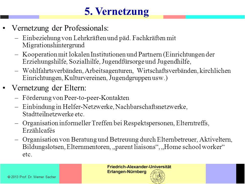 Vernetzung der Professionals: –Einbeziehung von Lehrkräften und päd. Fachkräften mit Migrationshintergrund –Kooperation mit lokalen Institutionen und