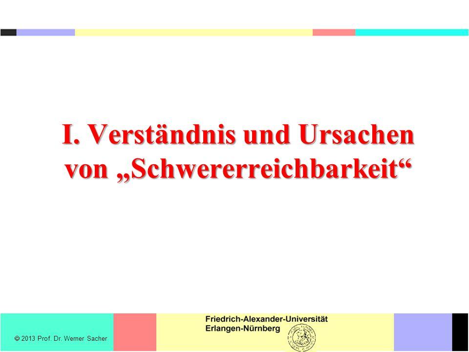I. Verständnis und Ursachen von Schwererreichbarkeit 2013 Prof. Dr. Werner Sacher
