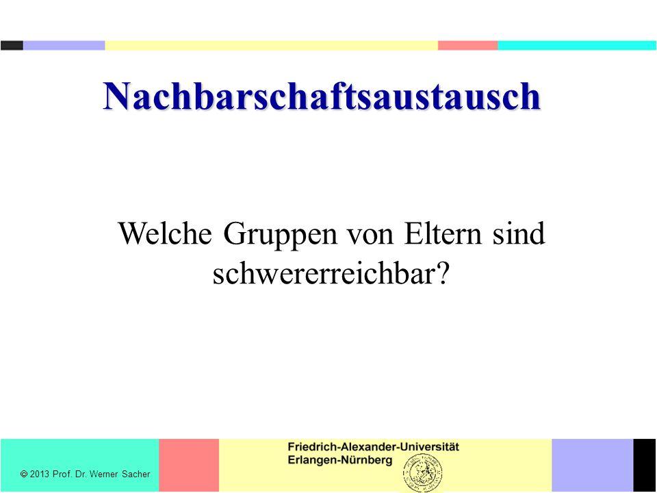 Nachbarschaftsaustausch Welche Gruppen von Eltern sind schwererreichbar? 2013 Prof. Dr. Werner Sacher