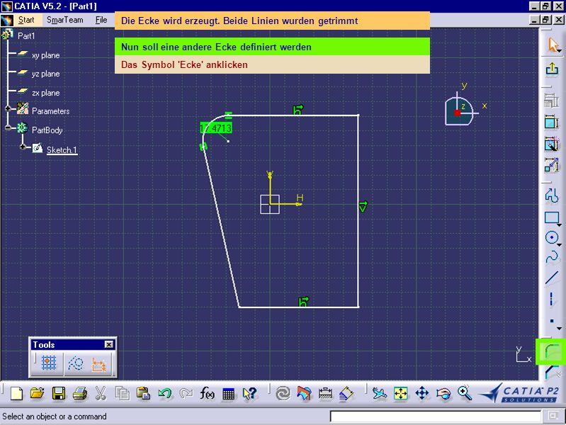 Die Ecke wird erzeugt. Beide Linien wurden getrimmt Nun soll eine andere Ecke definiert werden Das Symbol 'Ecke' anklicken