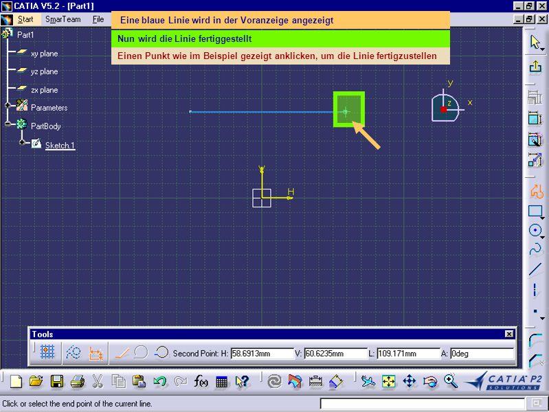 Die erste Linie, die definiert wurde (weiß) ist horizontal (siehe Bedingungssymbol) Nun wird das Profil fortgesetzt Den Punkt wie im Beispiel gezeigt anklicken, um eine zweite Linie fertigzustellen