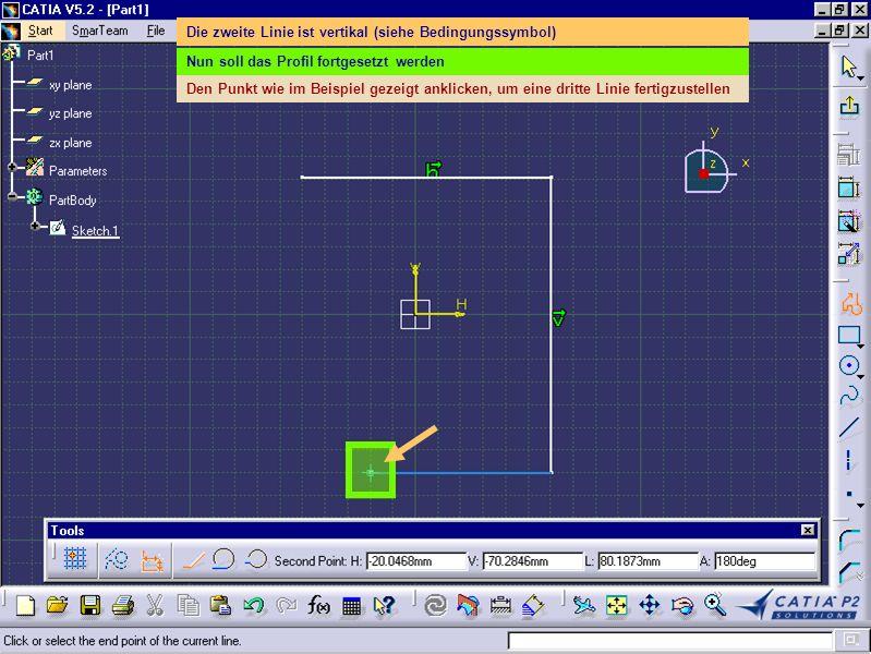 Die Symbolleiste Aufbereitung wird hier angezeigt Nun soll eine Auszugsschräge der äußeren Teilflächen des Blocks erstellt werden Das Symbol Auszugsschräge anklicken