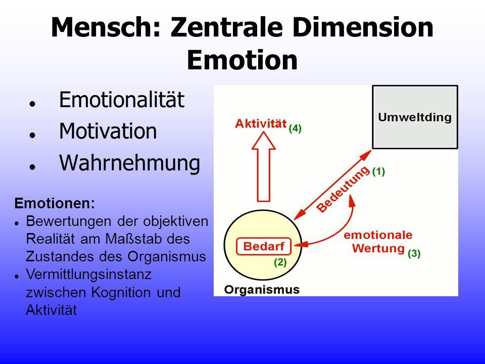 Mensch: Zentrale Dimension Emotion Emotionalität Motivation Wahrnehmung Emotionen: Bewertungen der objektiven Realität am Maßstab des Zustandes des Or