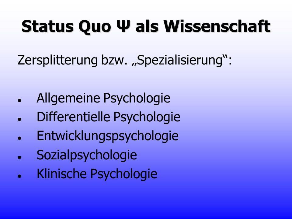 Status Quo Ψ als Wissenschaft Zersplitterung bzw. Spezialisierung: Allgemeine Psychologie Differentielle Psychologie Entwicklungspsychologie Sozialpsy