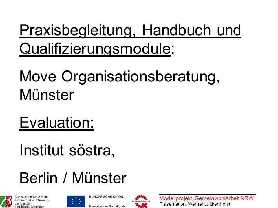 ________________________________ Modellprojekt GemeinwohlArbeit NRW Präsentation: Werner Lüttkenhorst Praxisbegleitung, Handbuch und Qualifizierungsmo