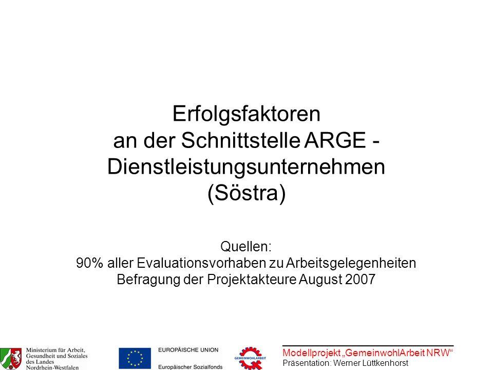 ________________________________ Modellprojekt GemeinwohlArbeit NRW Präsentation: Werner Lüttkenhorst Erfolgsfaktoren an der Schnittstelle ARGE - Dien
