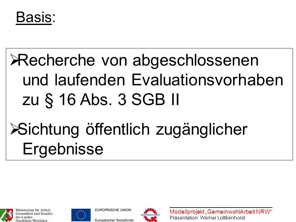 ________________________________ Modellprojekt GemeinwohlArbeit NRW Präsentation: Werner Lüttkenhorst Recherche von abgeschlossenen und laufenden Eval