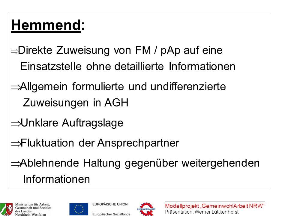 ________________________________ Modellprojekt GemeinwohlArbeit NRW Präsentation: Werner Lüttkenhorst Hemmend: Direkte Zuweisung von FM / pAp auf eine