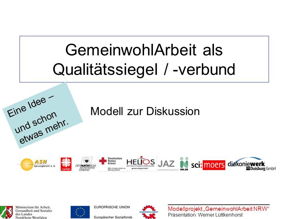 ________________________________ Modellprojekt GemeinwohlArbeit NRW Präsentation: Werner Lüttkenhorst GemeinwohlArbeit als Qualitätssiegel / -verbund