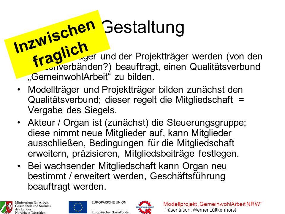 ________________________________ Modellprojekt GemeinwohlArbeit NRW Präsentation: Werner Lüttkenhorst Gestaltung Die Modellträger und der Projektträge