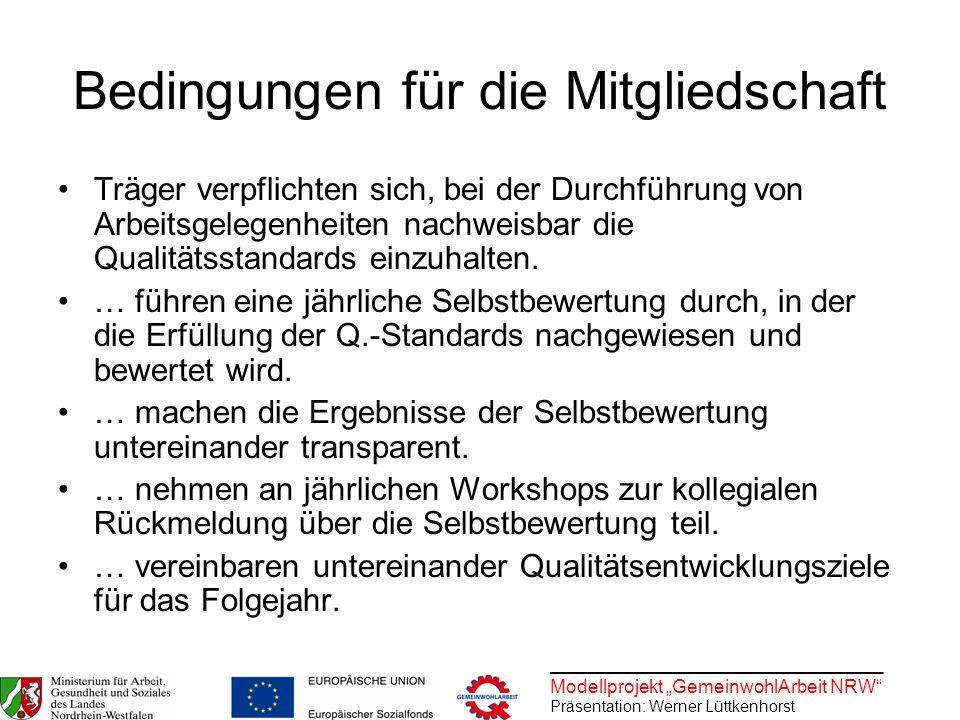 ________________________________ Modellprojekt GemeinwohlArbeit NRW Präsentation: Werner Lüttkenhorst Bedingungen für die Mitgliedschaft Träger verpfl