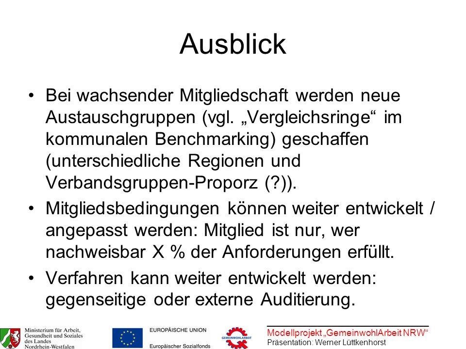 ________________________________ Modellprojekt GemeinwohlArbeit NRW Präsentation: Werner Lüttkenhorst Ausblick Bei wachsender Mitgliedschaft werden ne