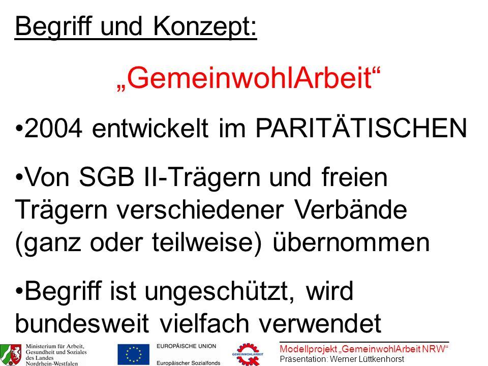 ________________________________ Modellprojekt GemeinwohlArbeit NRW Präsentation: Werner Lüttkenhorst Begriff und Konzept: GemeinwohlArbeit 2004 entwi