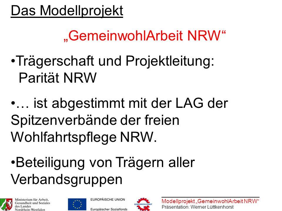 ________________________________ Modellprojekt GemeinwohlArbeit NRW Präsentation: Werner Lüttkenhorst Das Modellprojekt GemeinwohlArbeit NRW Trägersch