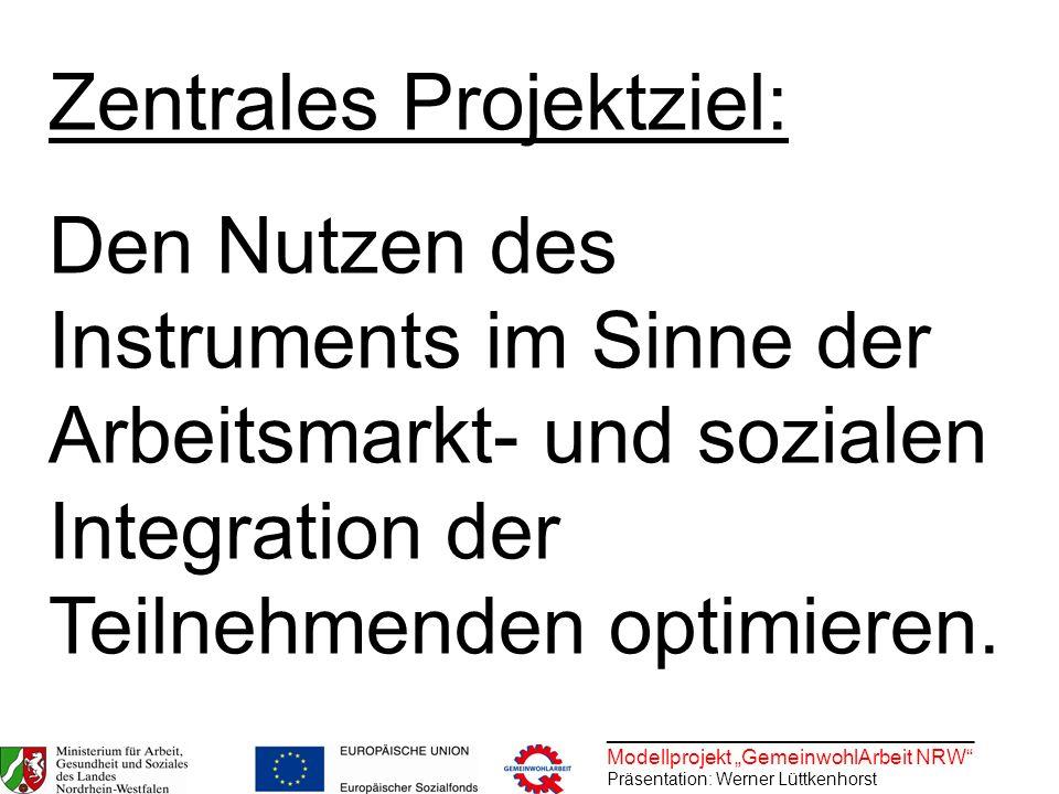 ________________________________ Modellprojekt GemeinwohlArbeit NRW Präsentation: Werner Lüttkenhorst Zentrales Projektziel: Den Nutzen des Instrument