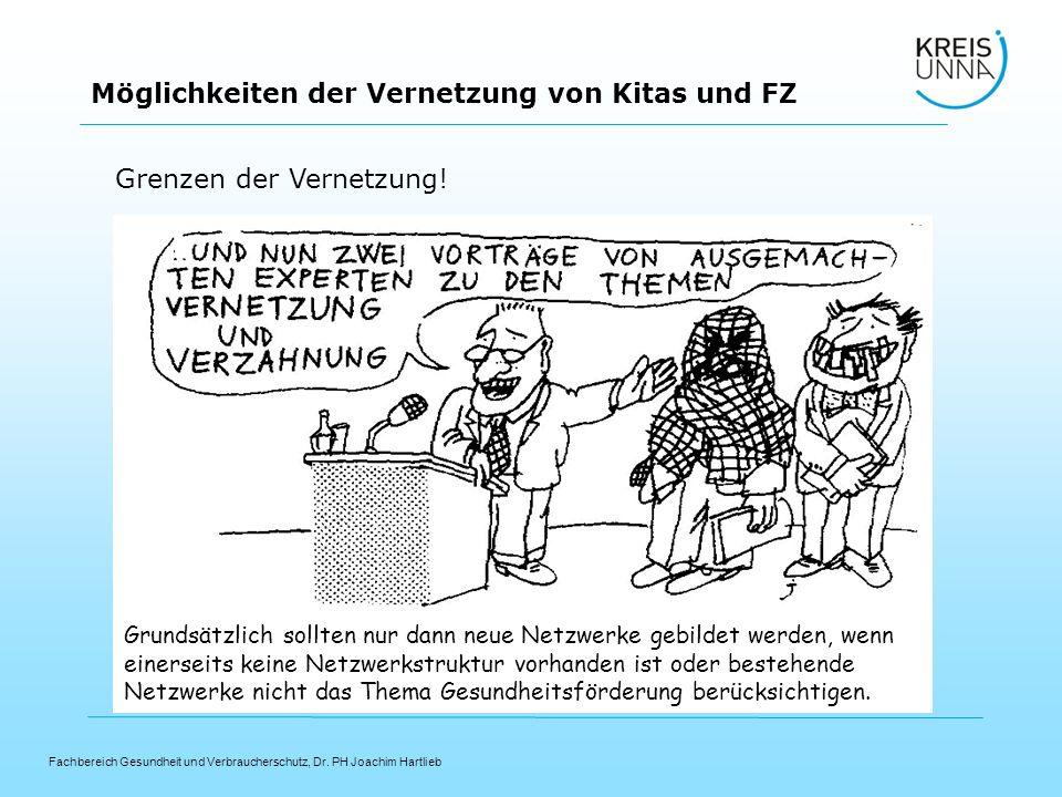 Fachbereich Gesundheit und Verbraucherschutz, Dr. PH Joachim Hartlieb Möglichkeiten der Vernetzung von Kitas und FZ Grenzen der Vernetzung! Grundsätzl