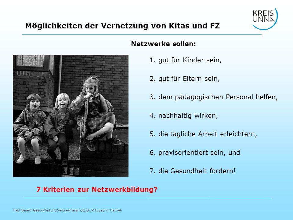 Fachbereich Gesundheit und Verbraucherschutz, Dr. PH Joachim Hartlieb Möglichkeiten der Vernetzung von Kitas und FZ Netzwerke sollen: 1. gut für Kinde