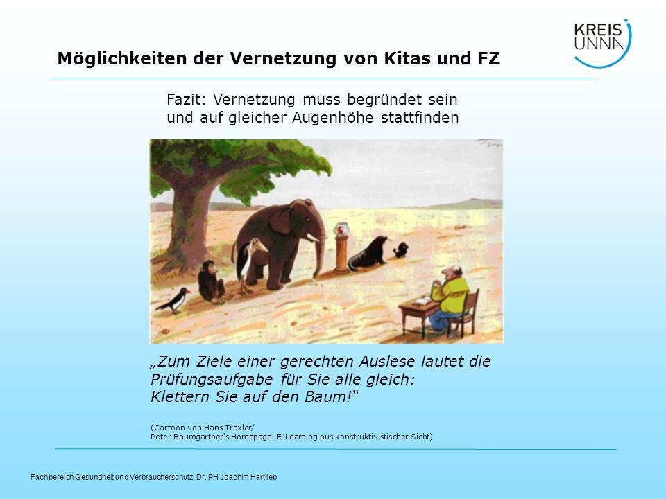 Fachbereich Gesundheit und Verbraucherschutz, Dr. PH Joachim Hartlieb Möglichkeiten der Vernetzung von Kitas und FZ Zum Ziele einer gerechten Auslese