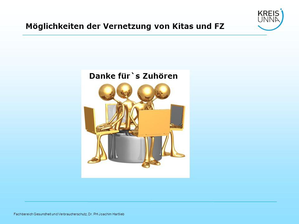 Fachbereich Gesundheit und Verbraucherschutz, Dr. PH Joachim Hartlieb Möglichkeiten der Vernetzung von Kitas und FZ Danke für`s Zuhören