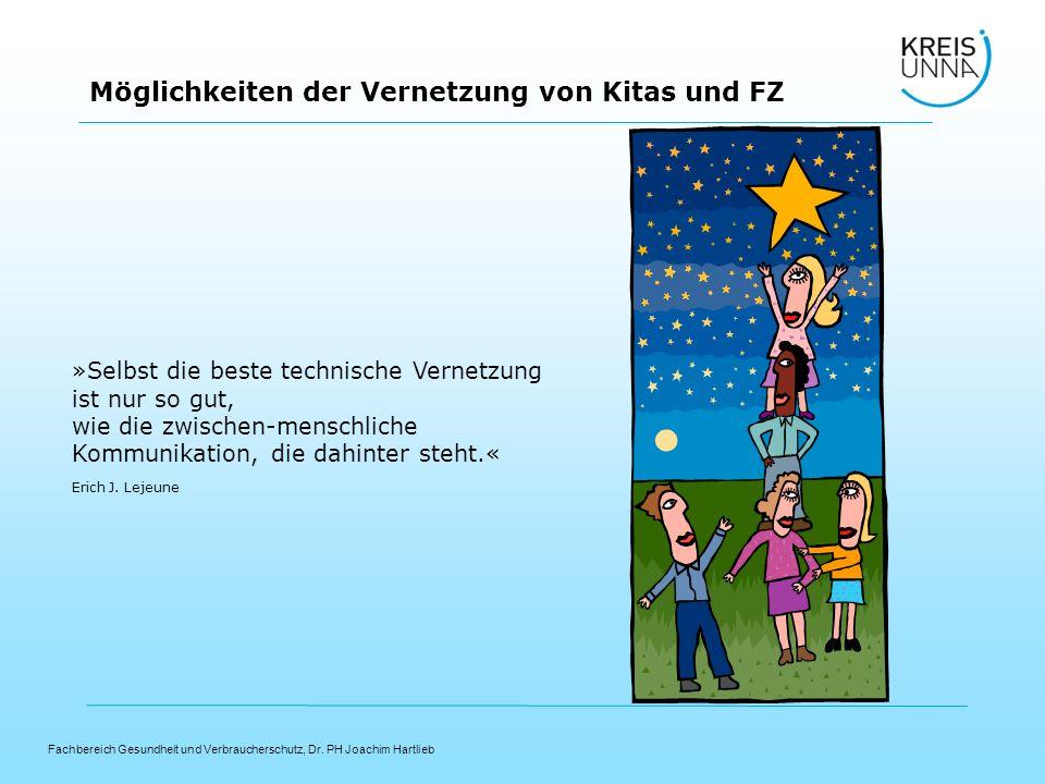 Fachbereich Gesundheit und Verbraucherschutz, Dr. PH Joachim Hartlieb Möglichkeiten der Vernetzung von Kitas und FZ »Selbst die beste technische Verne