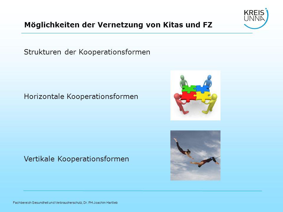 Fachbereich Gesundheit und Verbraucherschutz, Dr. PH Joachim Hartlieb Möglichkeiten der Vernetzung von Kitas und FZ Strukturen der Kooperationsformen