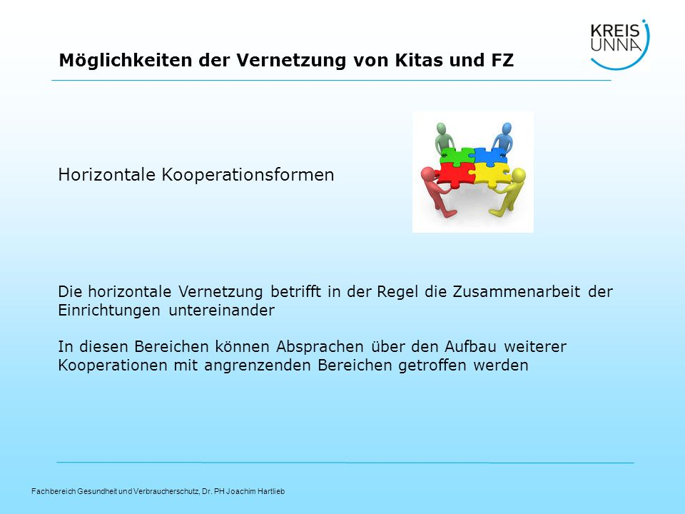 Fachbereich Gesundheit und Verbraucherschutz, Dr. PH Joachim Hartlieb Möglichkeiten der Vernetzung von Kitas und FZ Horizontale Kooperationsformen Die