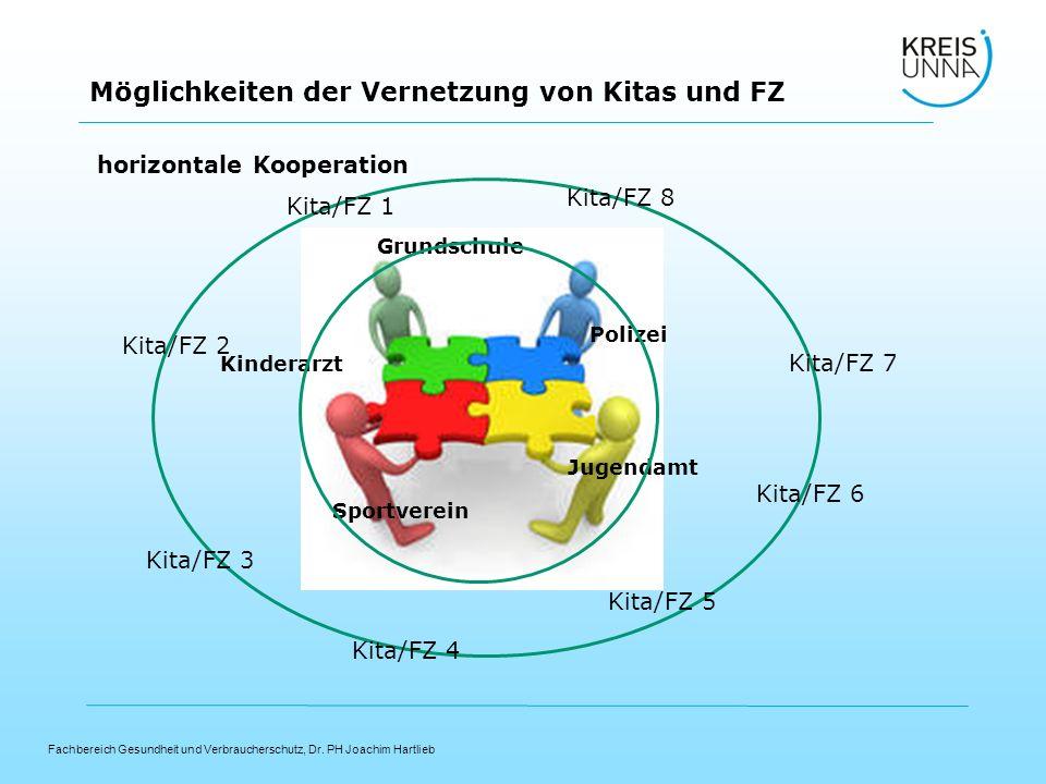 Fachbereich Gesundheit und Verbraucherschutz, Dr. PH Joachim Hartlieb Möglichkeiten der Vernetzung von Kitas und FZ Kita/FZ 1 Kita/FZ 2 Kita/FZ 3 Kita