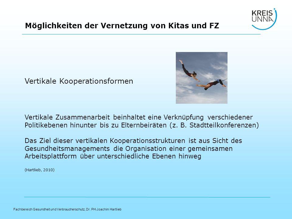 Fachbereich Gesundheit und Verbraucherschutz, Dr. PH Joachim Hartlieb Möglichkeiten der Vernetzung von Kitas und FZ Vertikale Kooperationsformen Verti