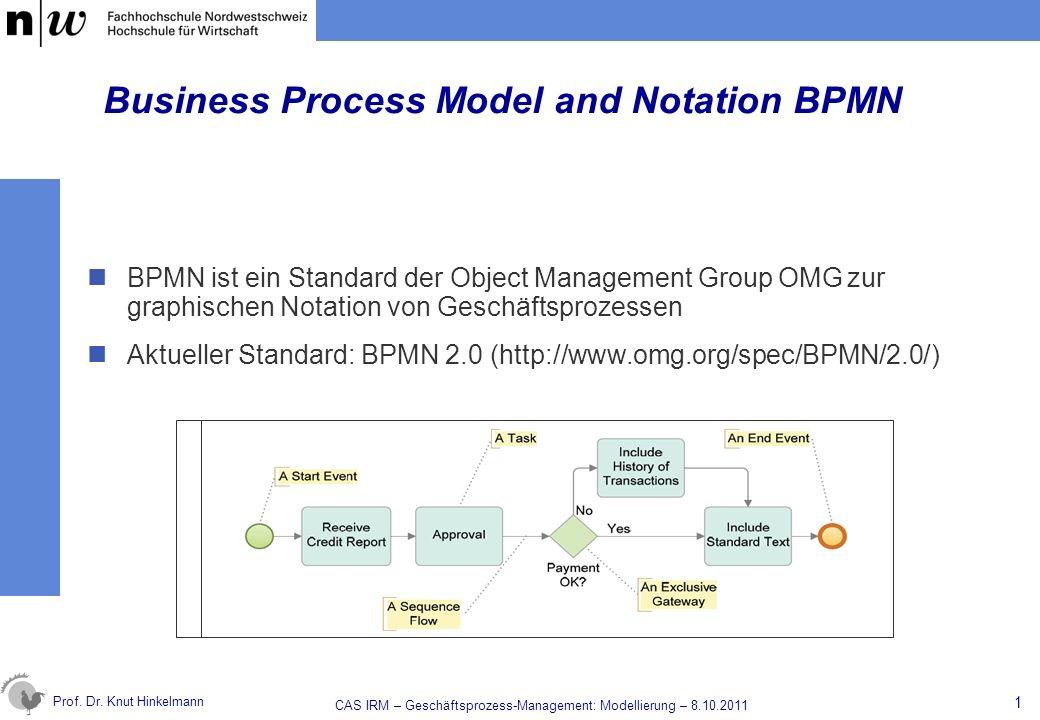 Prof. Dr. Knut Hinkelmann Business Process Model and Notation BPMN BPMN ist ein Standard der Object Management Group OMG zur graphischen Notation von