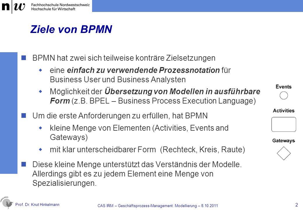 Prof. Dr. Knut Hinkelmann Ziele von BPMN BPMN hat zwei sich teilweise konträre Zielsetzungen eine einfach zu verwendende Prozessnotation für Business