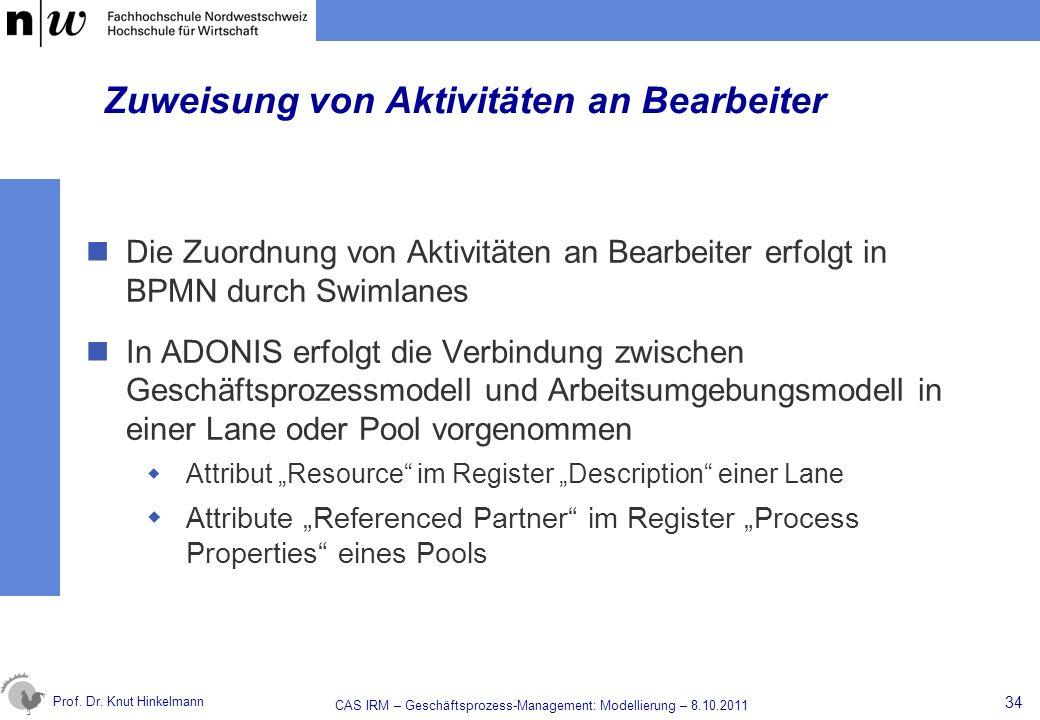 Prof. Dr. Knut Hinkelmann Zuweisung von Aktivitäten an Bearbeiter Die Zuordnung von Aktivitäten an Bearbeiter erfolgt in BPMN durch Swimlanes In ADONI