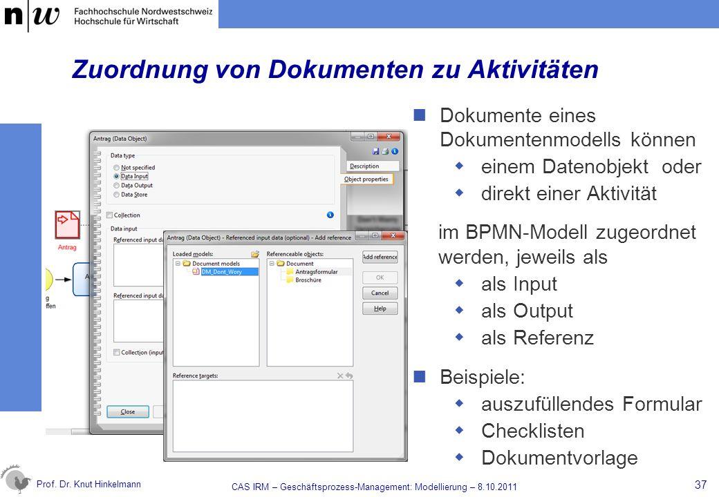 Prof. Dr. Knut Hinkelmann Zuordnung von Dokumenten zu Aktivitäten Dokumente eines Dokumentenmodells können einem Datenobjekt oder direkt einer Aktivit