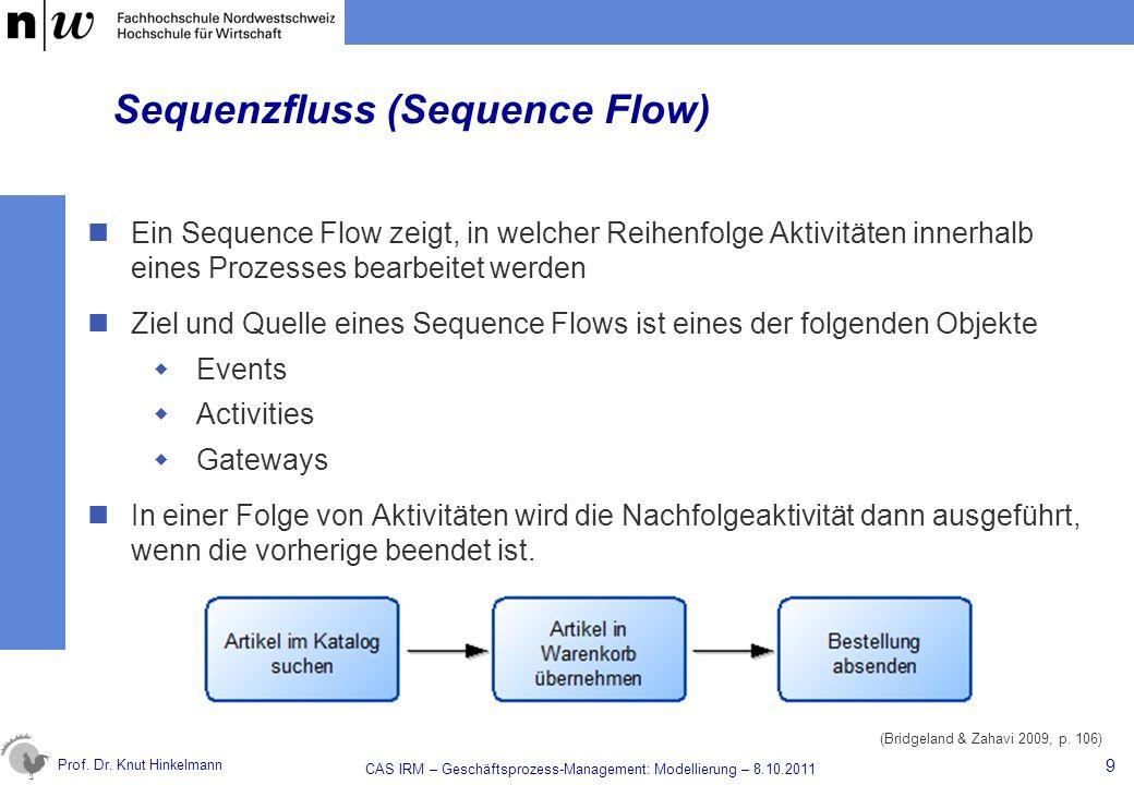 Prof. Dr. Knut Hinkelmann Sequenzfluss (Sequence Flow) Ein Sequence Flow zeigt, in welcher Reihenfolge Aktivitäten innerhalb eines Prozesses bearbeite