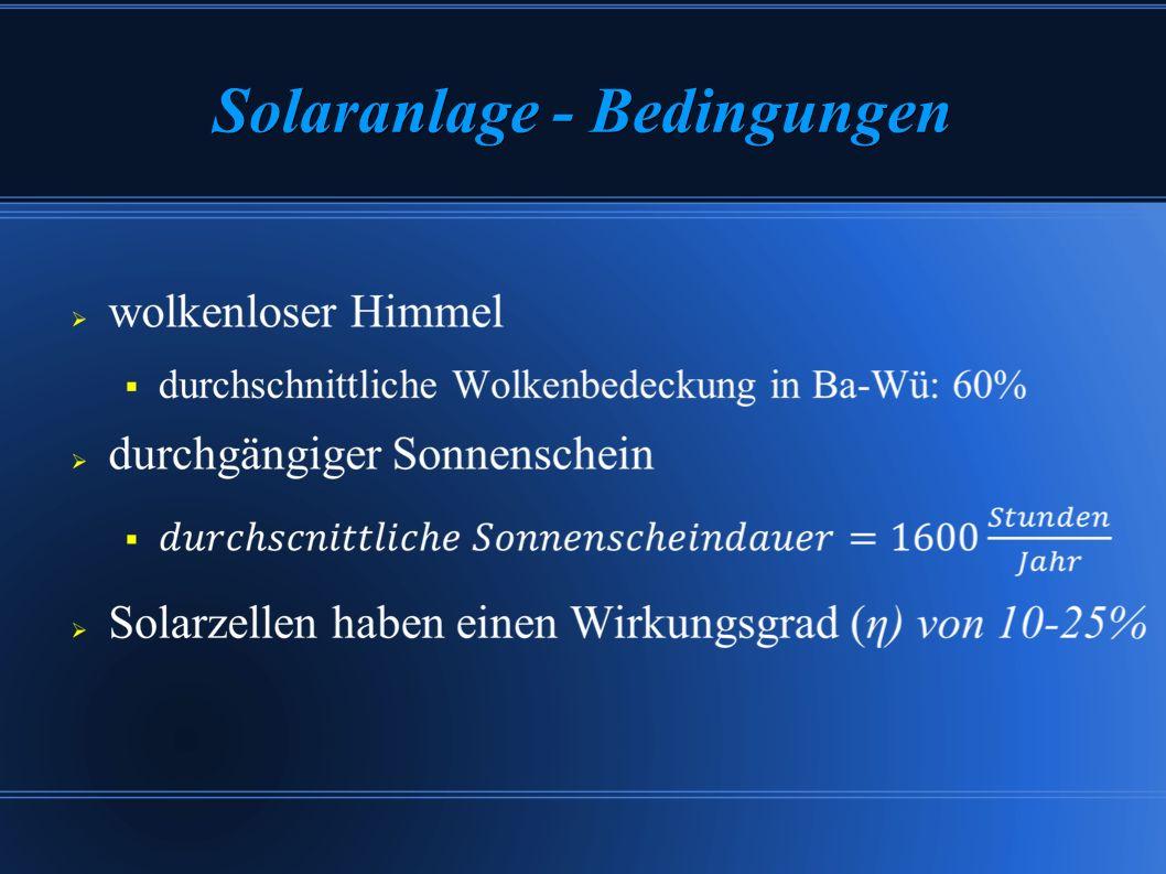Solaranlage – Berechnung α(Karlsruhe) = 49°