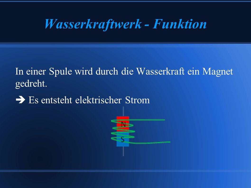 Wasserkraftwerk - Funktion In einer Spule wird durch die Wasserkraft ein Magnet gedreht. Es entsteht elektrischer Strom