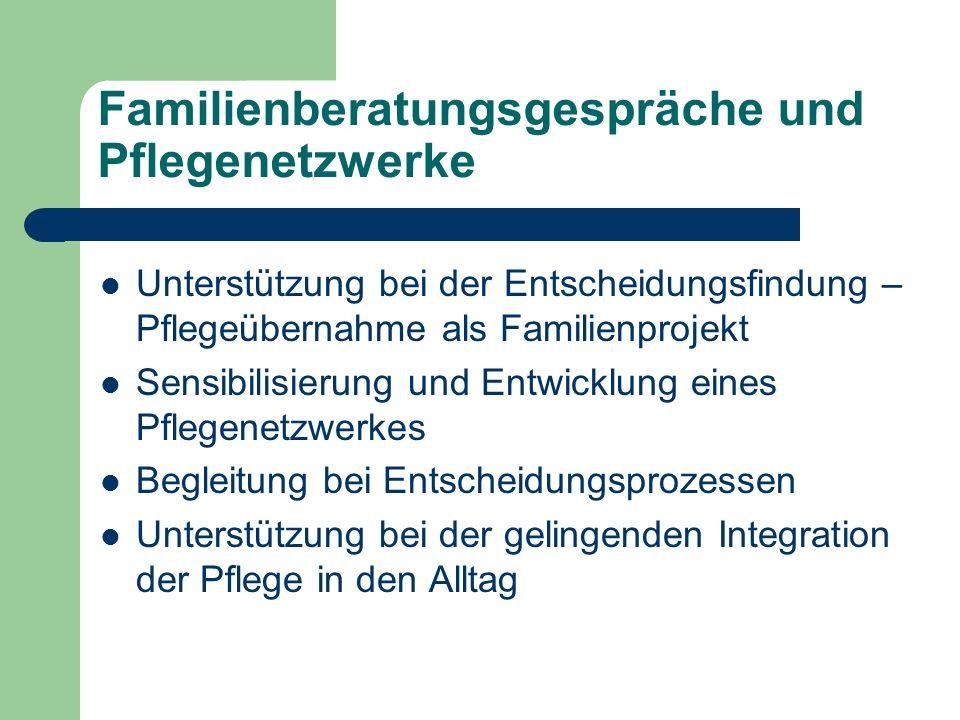 Familienberatungsgespräche und Pflegenetzwerke Unterstützung bei der Entscheidungsfindung – Pflegeübernahme als Familienprojekt Sensibilisierung und E