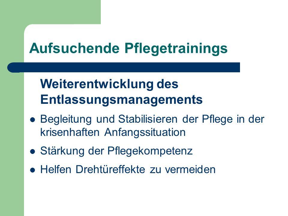 Aufsuchende Pflegetrainings Weiterentwicklung des Entlassungsmanagements Begleitung und Stabilisieren der Pflege in der krisenhaften Anfangssituation