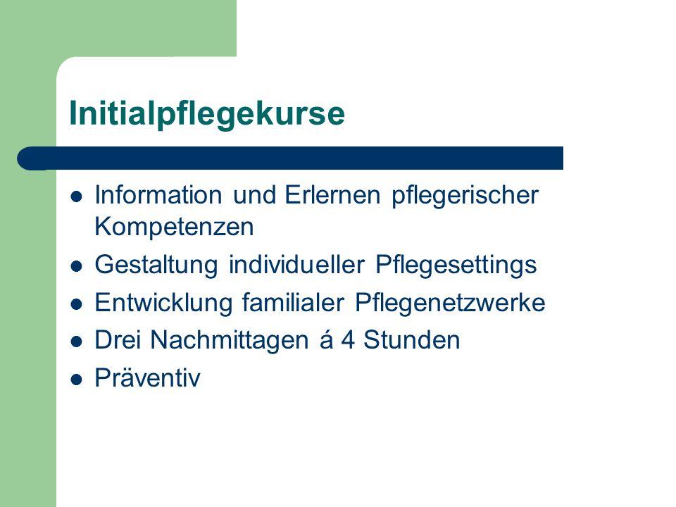 Initialpflegekurse Information und Erlernen pflegerischer Kompetenzen Gestaltung individueller Pflegesettings Entwicklung familialer Pflegenetzwerke D