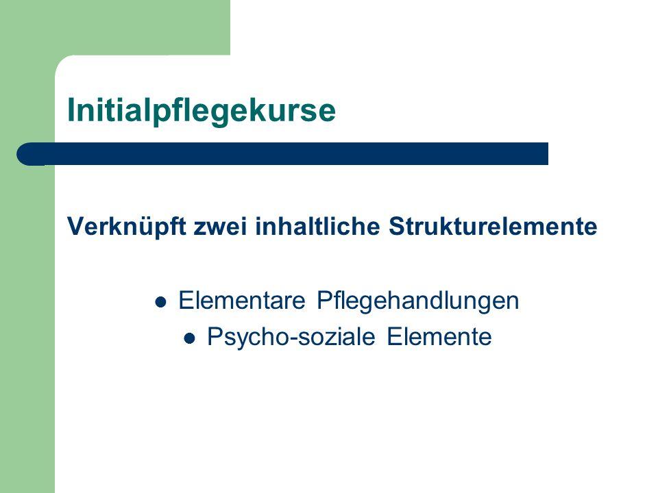 Initialpflegekurse Verknüpft zwei inhaltliche Strukturelemente Elementare Pflegehandlungen Psycho-soziale Elemente